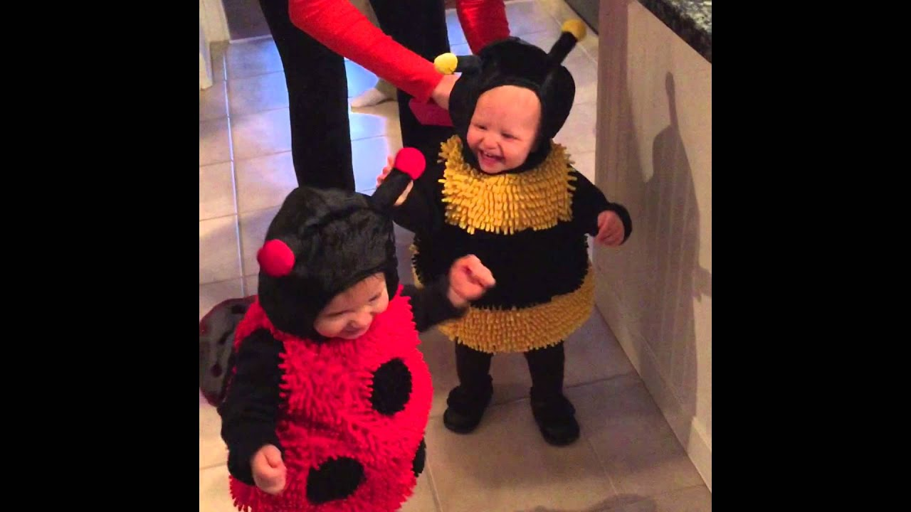 Twin Girls Love Their Squeaky Halloween Costumes! Bumble Bee and Lady Bug. - YouTube  sc 1 st  YouTube & Twin Girls Love Their Squeaky Halloween Costumes! Bumble Bee and ...