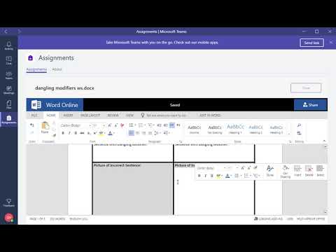 Microsoft Teams - Student View of a basic assignment