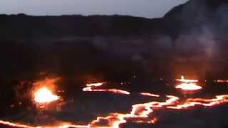 Standing on the Edge of Arte Ale Volcano Danakil Depression Ethiopia