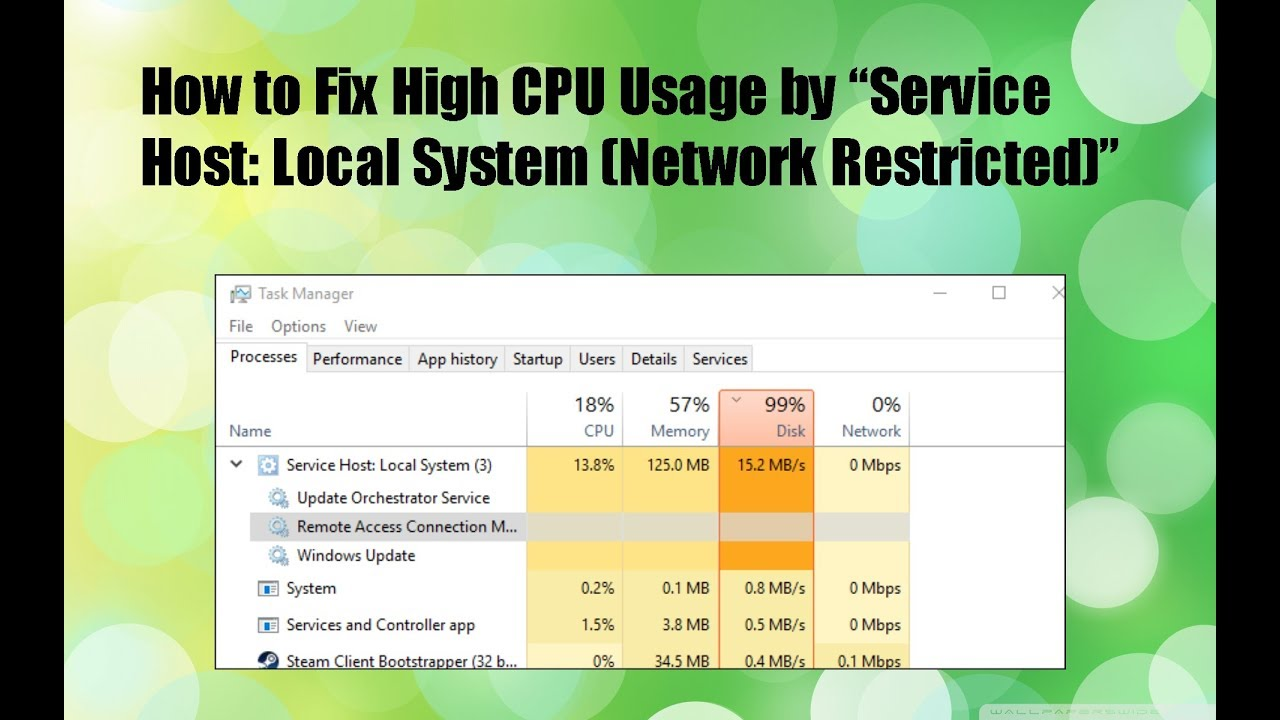 service host local service (network restricted) high memory usage