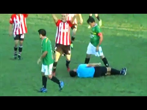 Referee Shockingly Knocked Unconscious For Yellow Carding Argentinian Defender