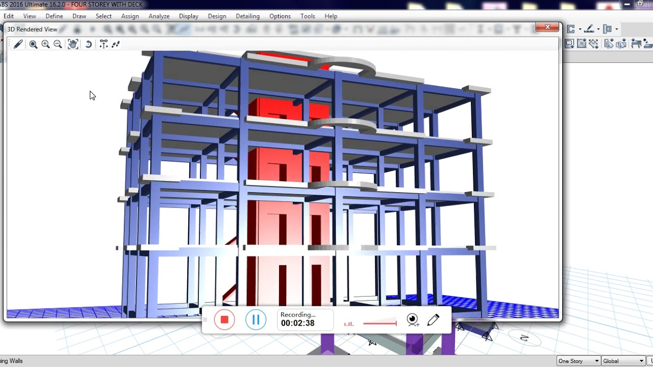 Etabs 2016 Four Storey With Roof Deck Concrete Structure