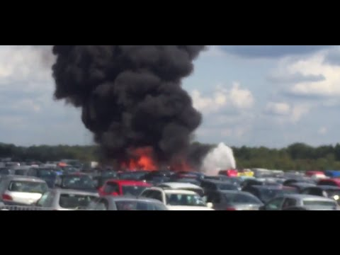 Light Plane Crashes Into Car Auction in Hampshire