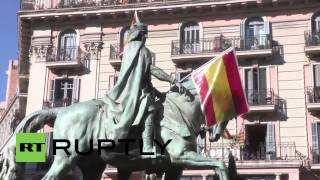 Spain: Nationalist demonstrators flood into Catalonia