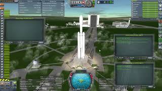 Kerbal Space Program with RO - Falcon Heavy Booster Landing with kOS
