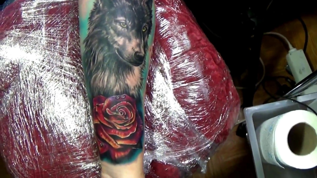 Girl Tattoo Wolf And Rose Arm Piece Youtube