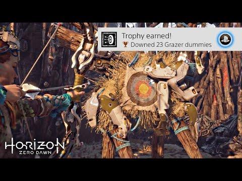 HORIZON ZERO DAWN · ALL 23 Grazer Dummy Locations Video Guide | 'Downed 23 Grazer dummies' Trophy
