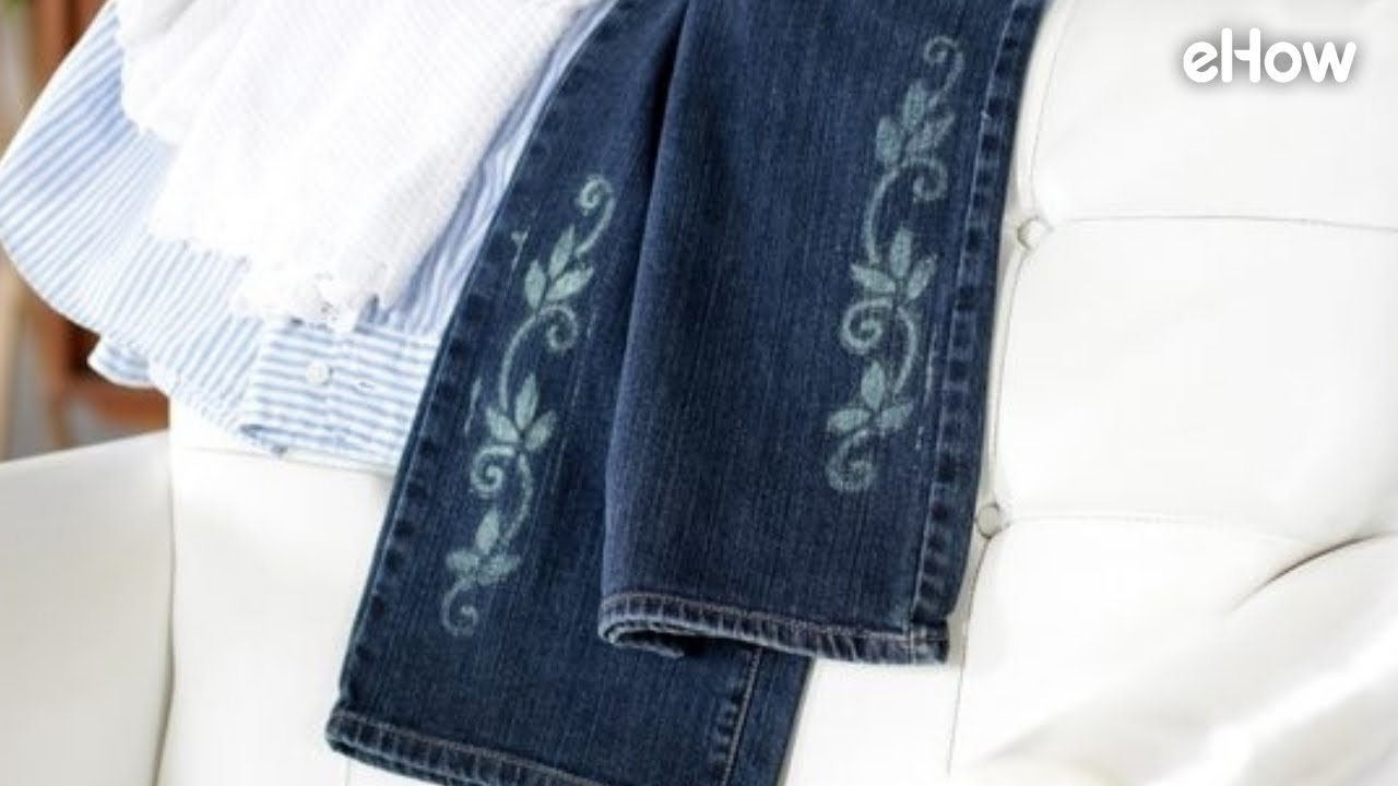 How To Stencil A Design On Jeans With Bleach Youtube