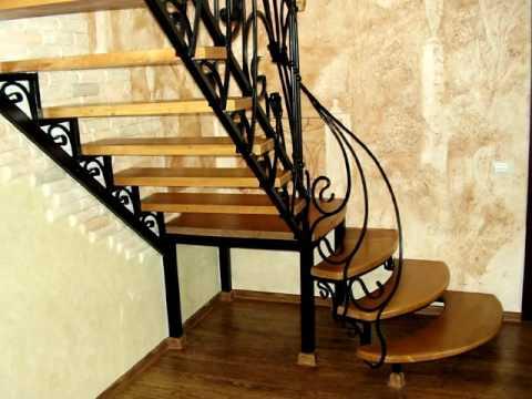 Лестница 139  Металлическая в частном доме, ступени из дерева Днепропетровск, Днепр