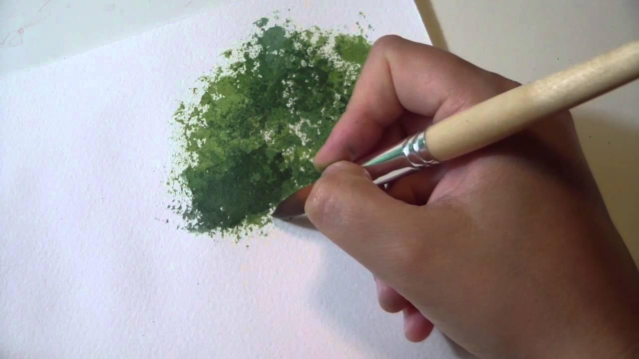Corso di Acquerello Online Lezione 23  Come dipingere gli ALBERI con la SPUGNA  YouTube