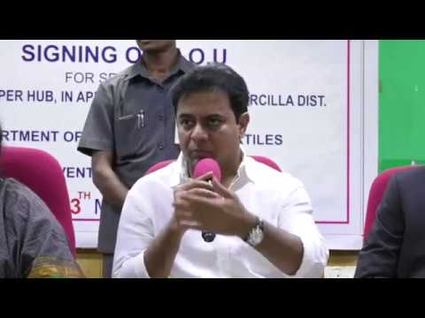 Minister KTR addressed media at MoU signing ceremony with KAY Ventures Pvt Ltd.