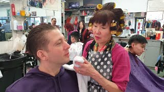 $8 Stright Razor Shave in Chinatown New York City (NYC) by Colorful Chinese Lady!  How is it like?