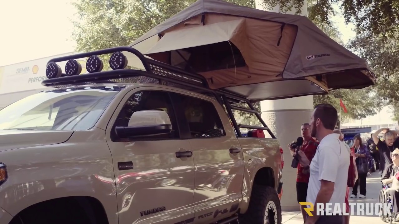 Custom Adventure Toyota Tundra With Roof Rack Truck Tent SEMA 2016