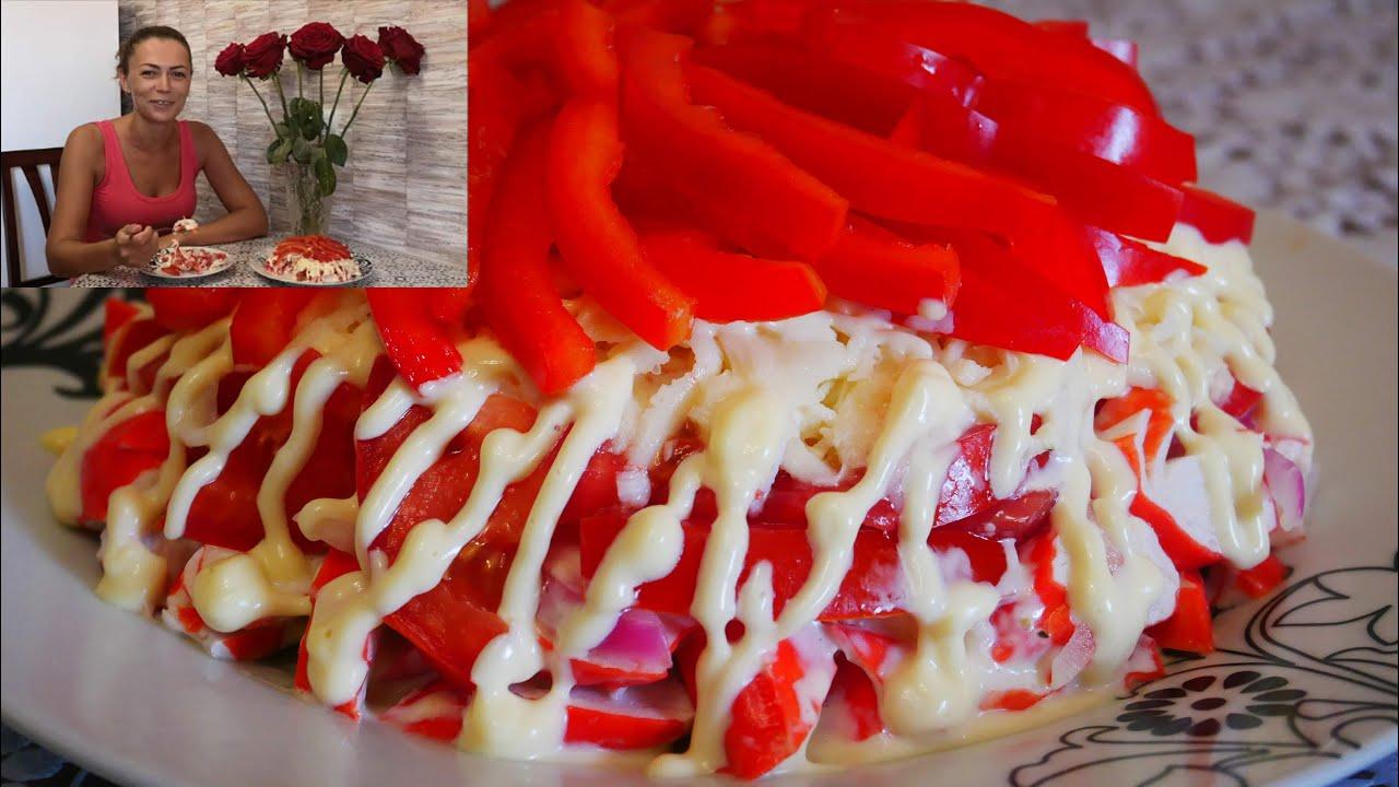 Салат с крабовыми палочками КРАСНОЕ МОРЕ Сочный Свежий и Вкусный салат на праздничный стол