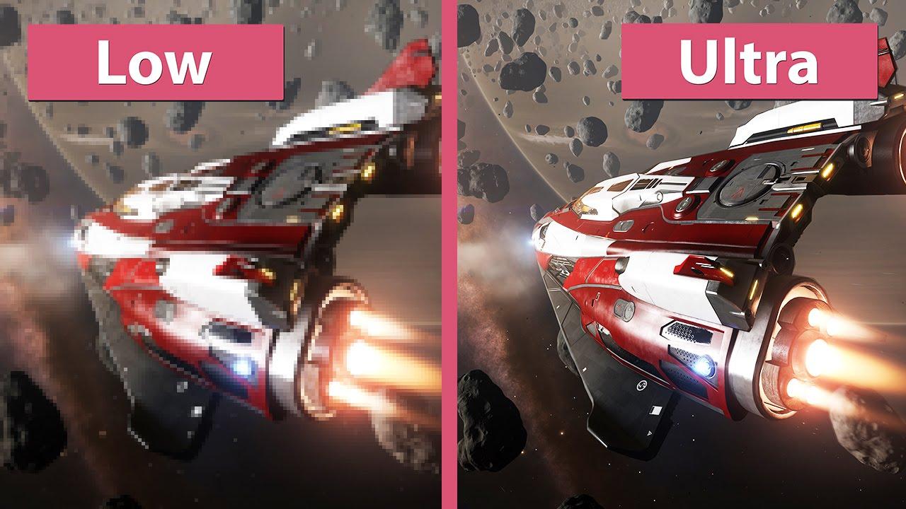 Elite: Dangerous – PC Low vs  Ultra Graphics Comparison [60fps][FullHD]