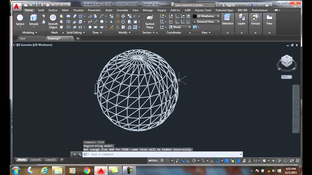 how to make a sphere in autocad