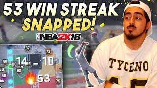 53 GAME WIN STREAK SNAPPED BY MY PURE SHOT CREATOR in NBA2K18! GAME OF THE YEAR!