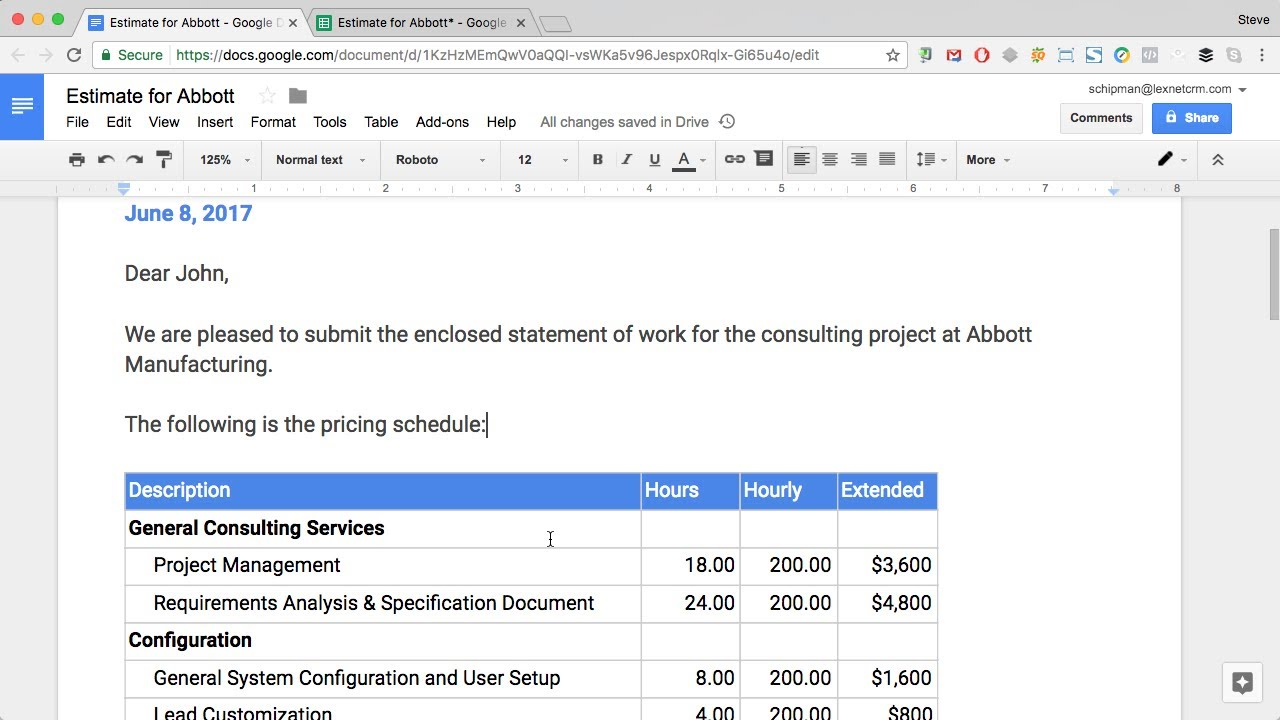 google docs create proposals with embedded google sheets pricing