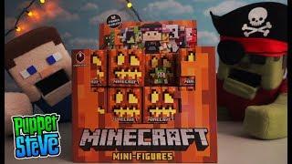 Minecraft mini figures Series 9 blind box Spooky Halloween toys set unboxing Puppet Steve