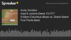 Area 6 Juniors-Game 13-7/17 5:00pm-Columbus Blues vs. Grand Island Five Points Bank