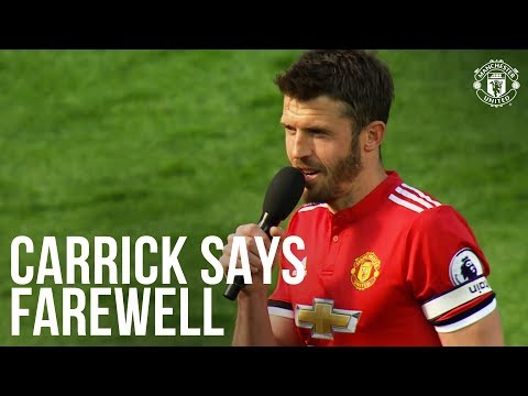 Manchester United's Michael Carrick thanks Old Trafford crowd after Watford win