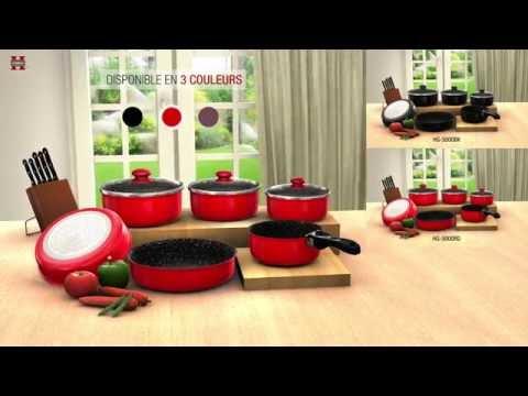 Batterie De Cuisine Revetement Pierre Avec Manche Amovible 10 Pieces Herzberg Hg 5000