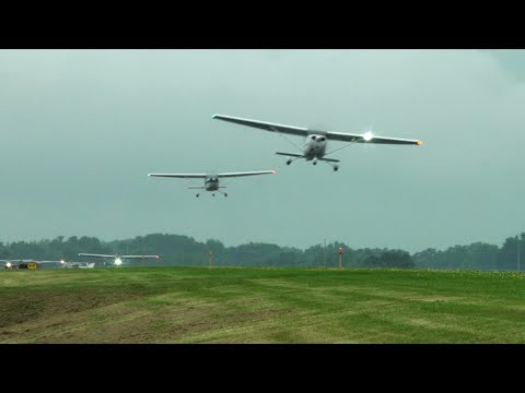 Racing Storms - 87 Cessna formation to Oshkosh - Mass arrival Part 2 - Flight Vlog