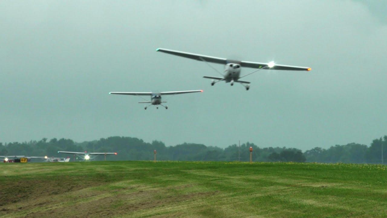 Racing Storms - 87 Cessna formation to Oshkosh - Mass arrival Part 2 -  Flight Vlog