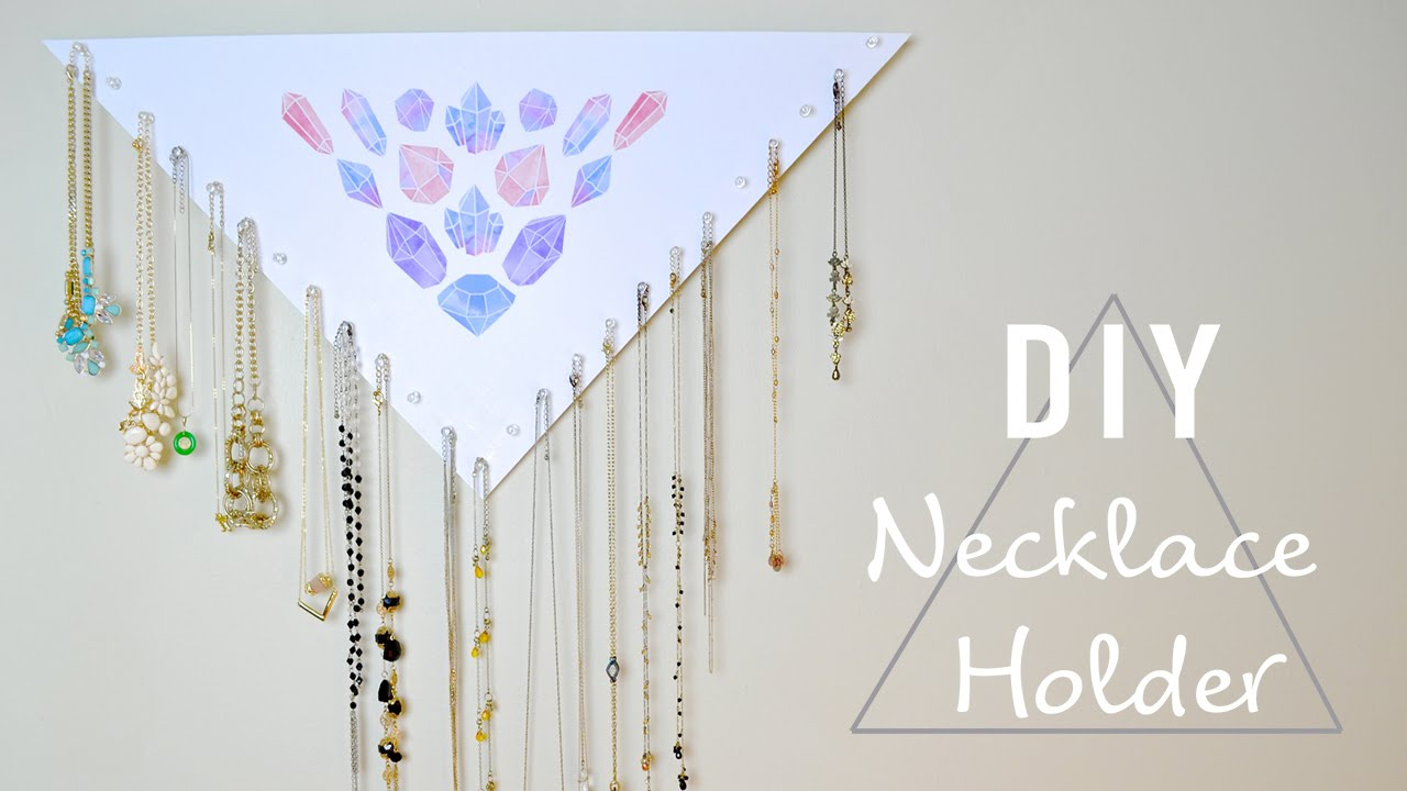 DIY EASY & CHEAP NECKLACE HOLDER- 20+ NECKLACES! - YouTube