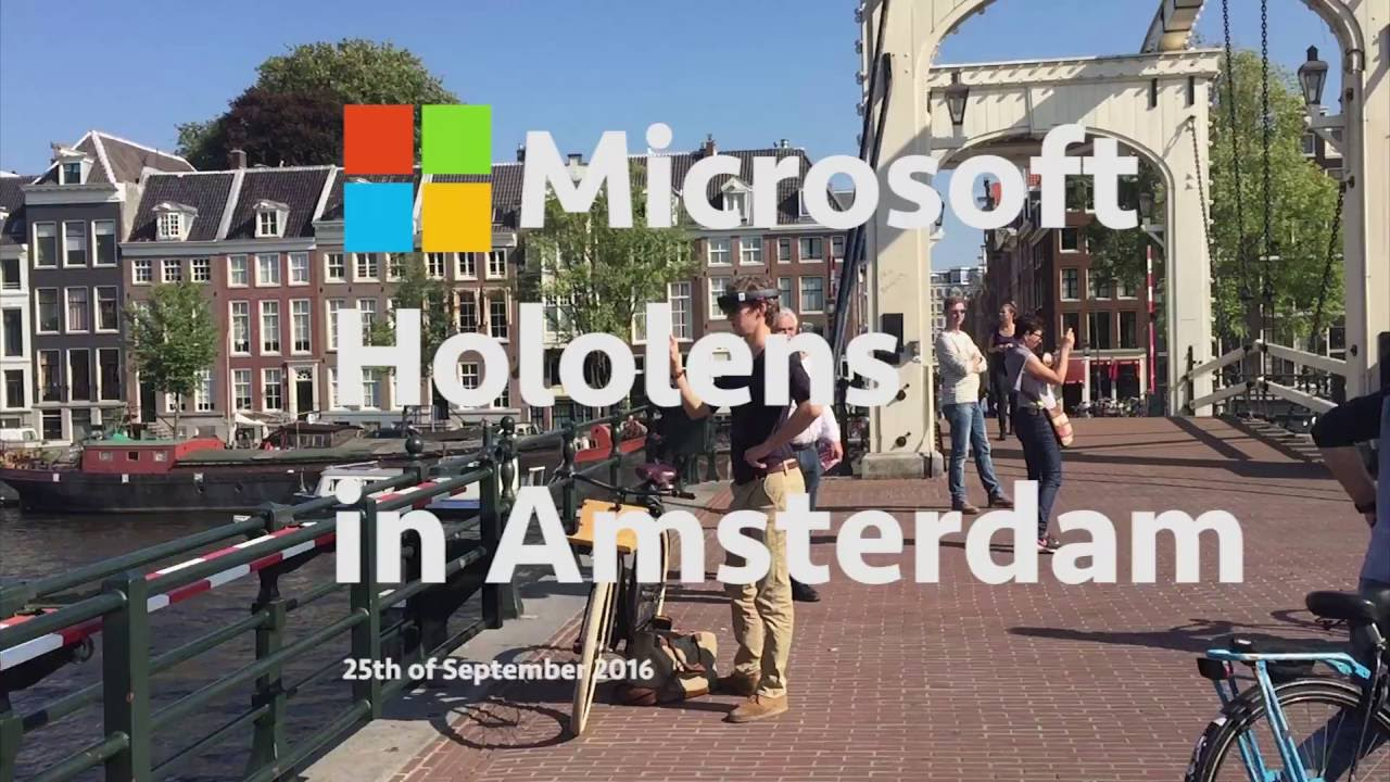 Microsoft Hololens outdoors in action on the streets of Amsterdam - VR in  the city