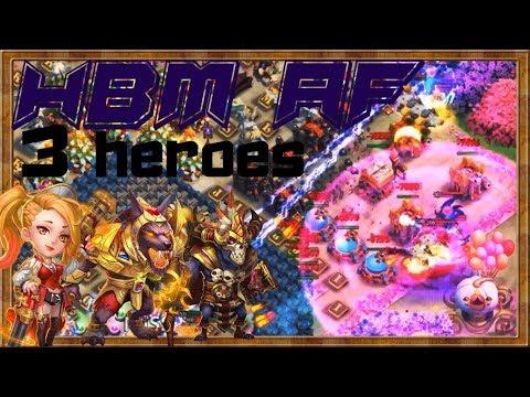 HBM AF   3 Heroes ONLY   SO EASY !!! Castle Clash 😱😱