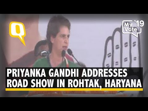 Priyanka Gandhi Addresses a Road Show in Rohtak, Haryana