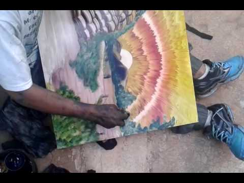 Painter Creates Beautiful Landscape Painting with Hands