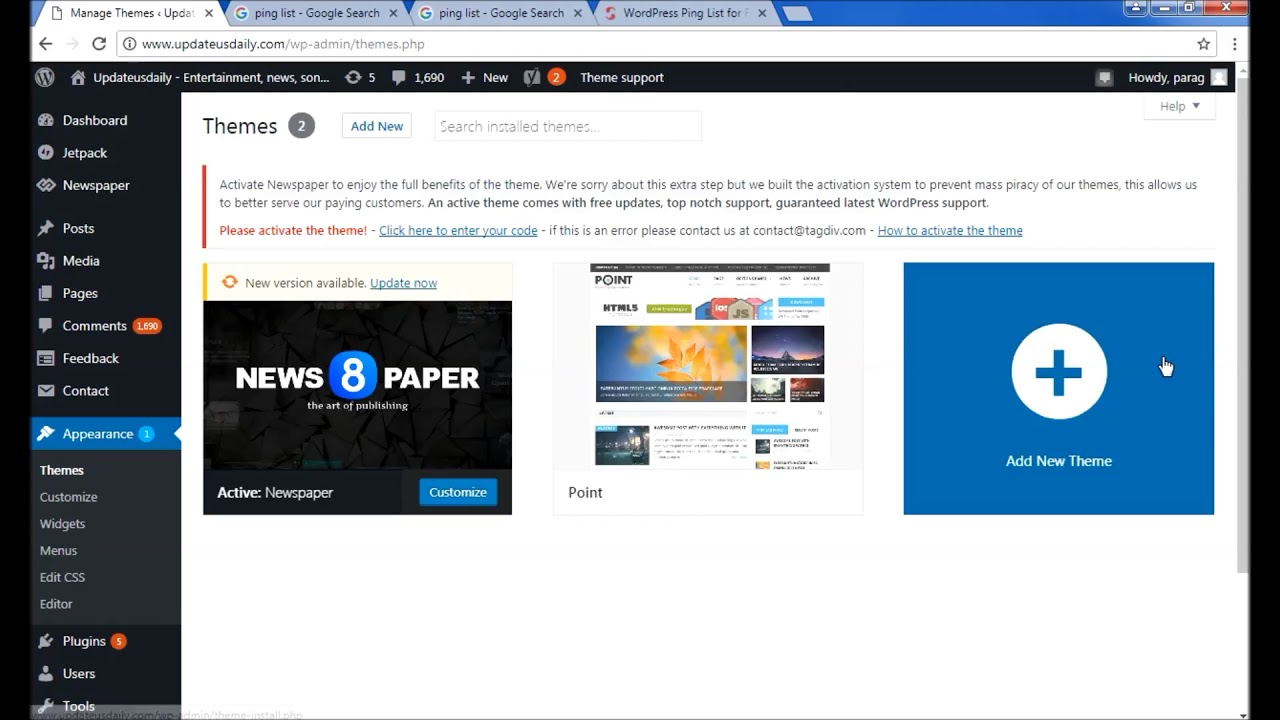 How To Change Wordpress Website Template Or Theme Youtube
