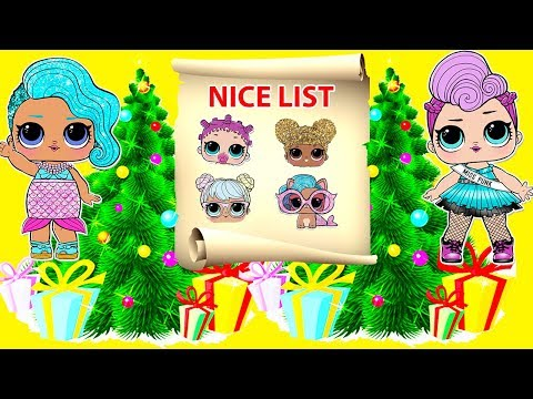 LOL Surprise Dolls - Who is on Santa Claus Nice List ?  Toys and Christmas Tree Decorating