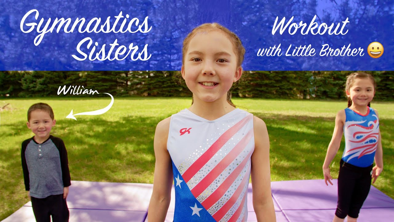 Gymnastics Sisters - Working Out with their Little Brother