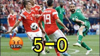 ملخص مباراة السعودية وروسيا 5-0 والاداء السيء من المنتخب السعودي وجنون رؤوف خليف - كأس العالم 2018HD