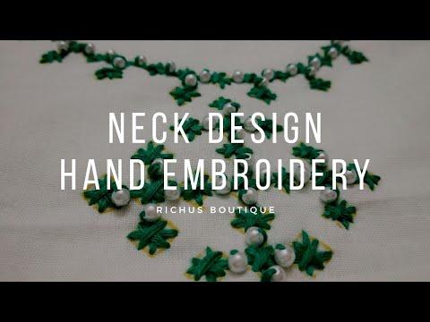 Neck Design | Handembroidery | Neckline | Chudi / kurtha | Beadwork
