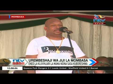 Gavana Hassan Joho amwalika Gavana Sonko jukwaani katika uzinduzi wa eneo la Mama Ngina