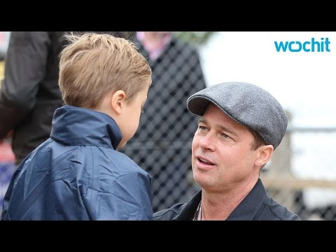 Brad Pitt and Son Knox Have a Day Out at the Racetrack