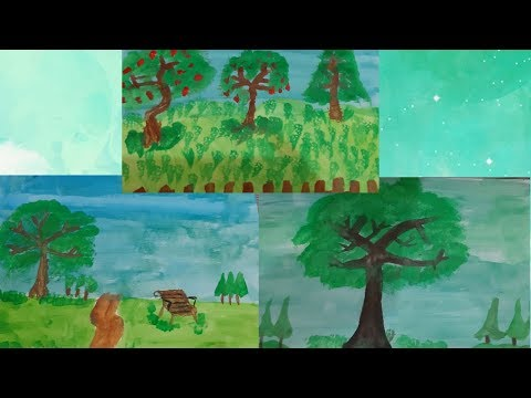 My 10-year old son's painting/landscape painting/Painting for kids/watercolour painting/painting