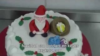 Cooking | Como decorar con fondant una Tarta de Navidad,de keyks