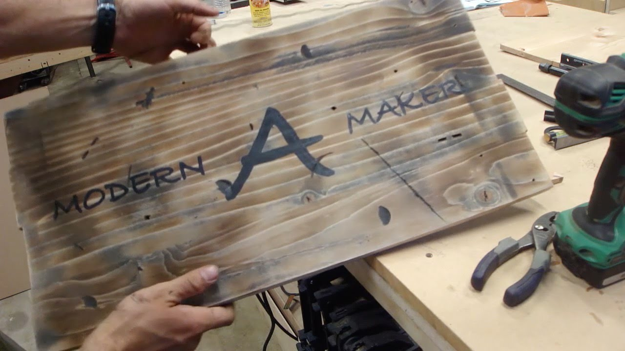 Making A Rustic Distressed Vintage Wood Sign Version 10 Youtube