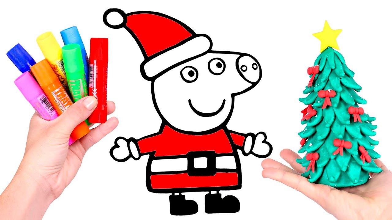 Dibuja Y Colorea A Peppa Pig De Mama Noel Dibujos Para Ninos