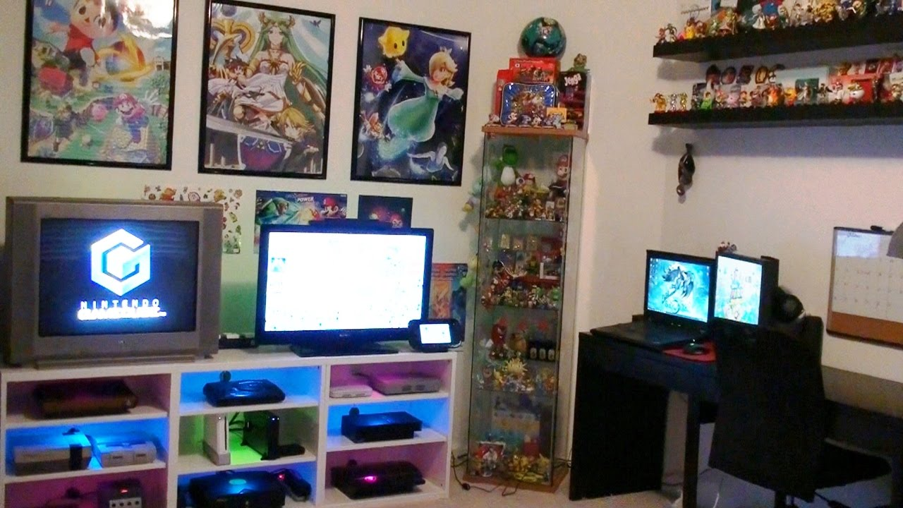 Nintendo gaming room setup tour 2016 youtube How to make a gaming setup in your room