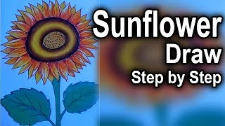 How to draw a Sunflower video step by step-Sunflower drawing for kids-Sunflower drawing Tutorial