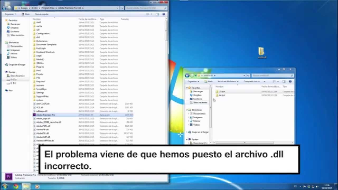 Solución Premiere CS6 | LoadLibraryEx Startup dll failed wiht error193: