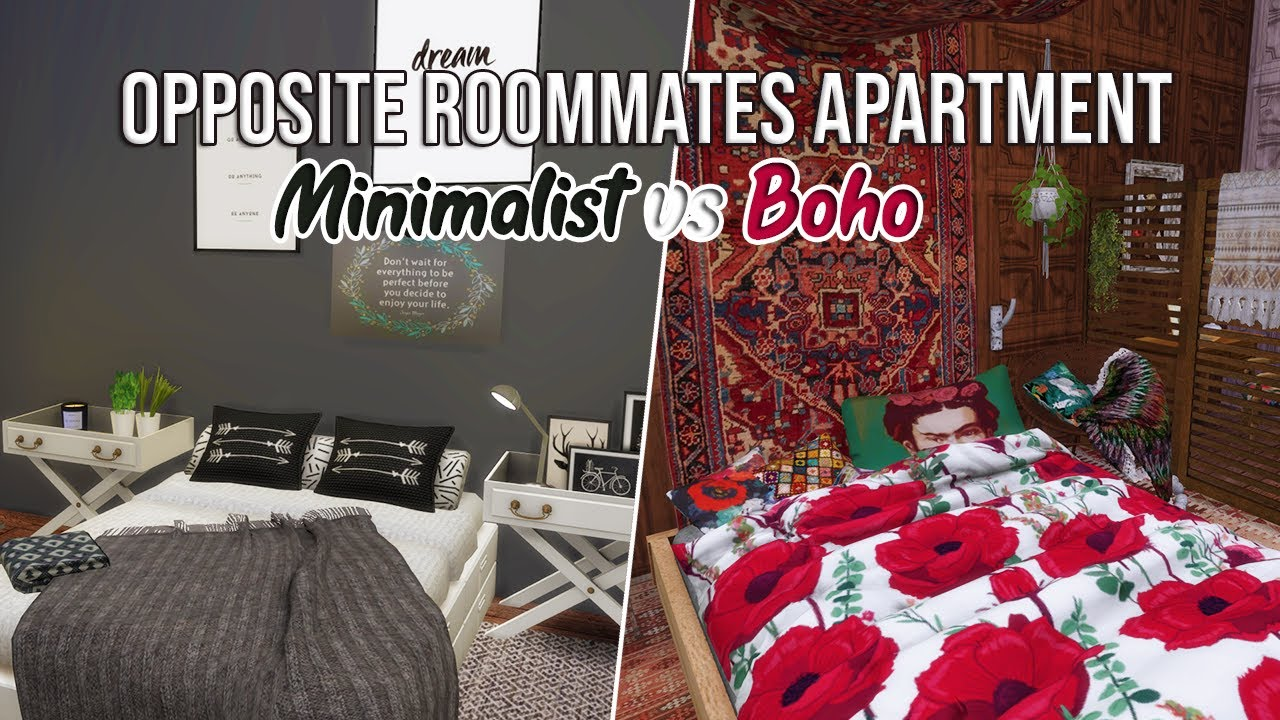The Sims 4 Speed Build | OPPOSITE ROOMMATES APARTMENT ...
