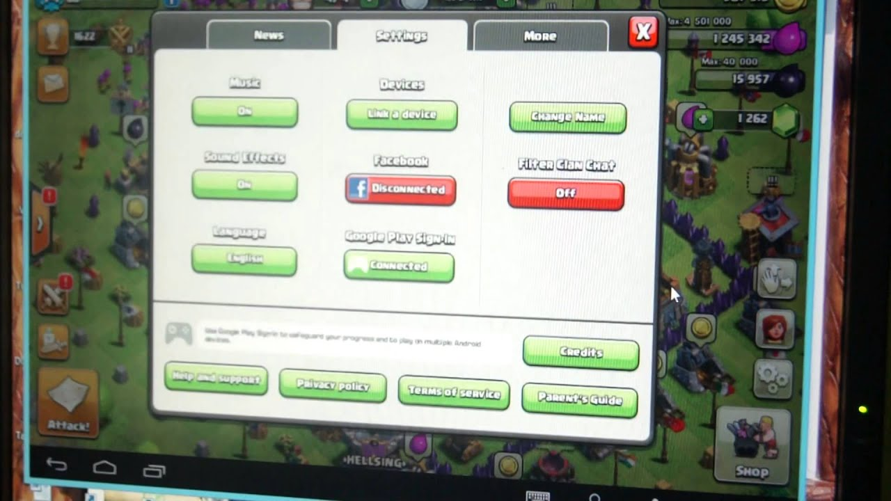clash of clans link a device