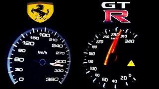 NISSAN GTR vs FERRARI 458 ITALIA 0-300 Acceleration Onboard Autobahn top speed ECC RENT Mietwagen